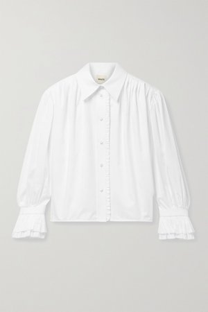 White Vanina ruffled pleated cotton-poplin blouse   Khaite   NET-A-PORTER