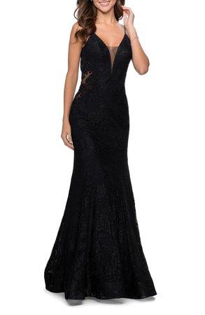 La Femme Sleeveless Lace Mermaid Gown | Nordstrom