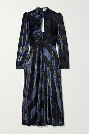 Maison Open-back Striped Metallic Velvet Midi Dress - Navy