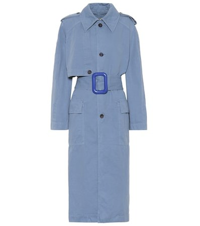 Belted cotton and linen trench coat