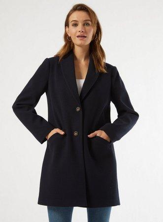 Navy Shawl Collar Coat