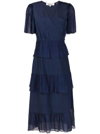 Shop blue DVF Diane von Furstenberg tie-fastening midi dress with Express Delivery - Farfetch