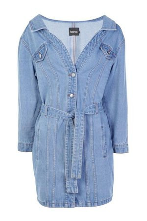 Off The Shoulder Denim Shirt Dress | Boohoo