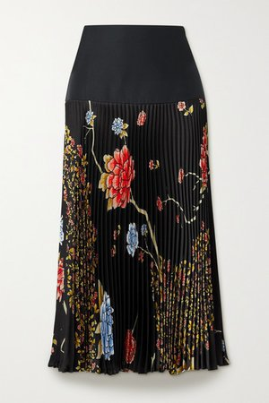 Pleated Floral-print Satin-twill Midi Skirt - Black