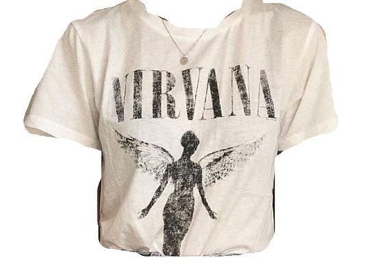 white nirvana shirt png