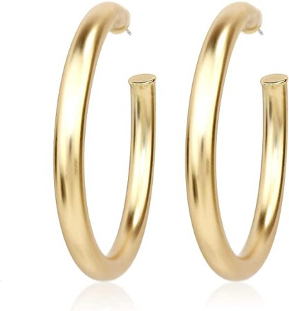Amazon.com: Pomina Chunky Thick Matte Gold Hoop Earrings Round Tube Hoop Earrings for Women: Clothing