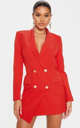 Red Gold Button Blazer Dress | Dresses | PrettyLittleThing