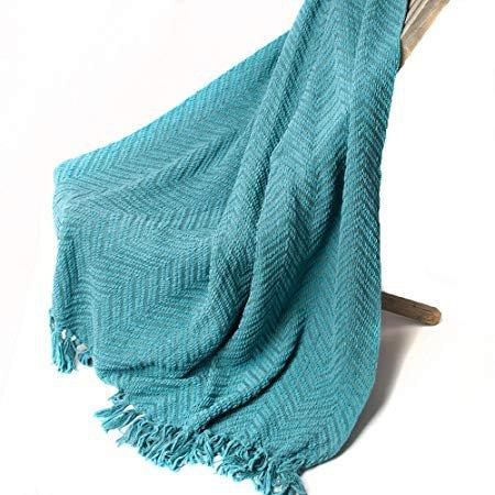 "Amazon.com: Knit Zig-Zag Textured Woven Throw Blanket Turquoise 60"" x 50"" by Battilo Inc: Home & Kitchen"