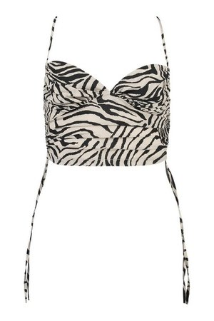 Tiger Print Ruched Cami Top | boohoo black