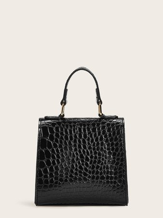 Metal Lock Decor Croc Embossed Satchel Bag | SHEIN