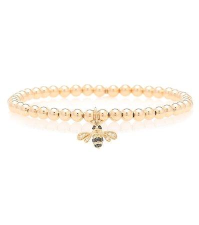 Sydney Evan - Bumblebee 14kt gold beaded bracelet | Mytheresa