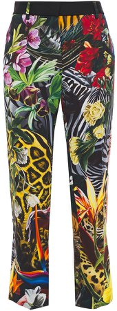 Printed Crepe Straight-leg Pants