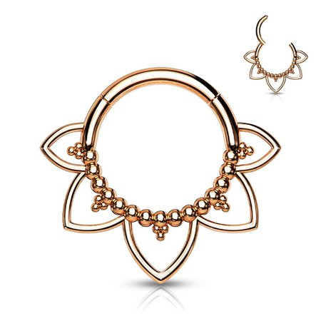 Surgical Steel Rose Gold PVD Floral Tribal Hinged Septum Ring Hoop Clicker   Pierced Universe