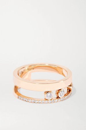Rose gold Move Romane 18-karat rose gold diamond ring | Messika | NET-A-PORTER