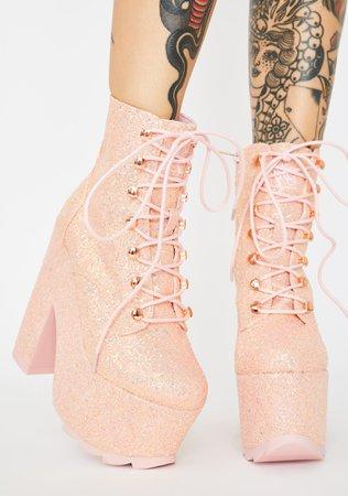 Y.R.U. Pink Glitter Night Terror Platform Boots | Dolls Kill