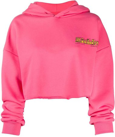cropped embroidered logo hoodie
