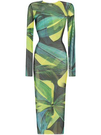 Shop yellow & green Louisa Ballou High Tide leaf-print sheer midi dress with Express Delivery - Farfetch