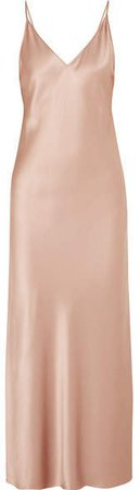 Clea Silk-satin Maxi Dress - Beige