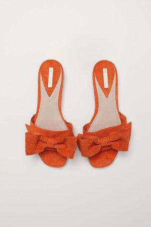 Suede slides - Orange - Ladies | H&M GB