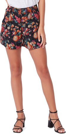 Tabby Print High Waist Pleated Shorts