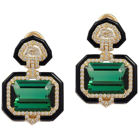 Green Tourmaline Emerald Cut Earring with Diamonds For Sale at 1stDibs