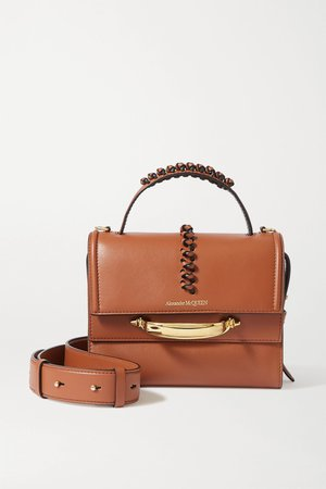 Brown The Story braided leather shoulder bag | Alexander McQueen | NET-A-PORTER