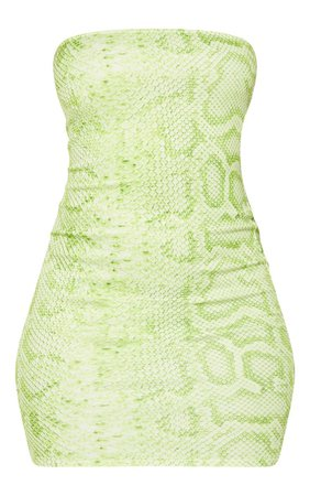 Lime Snake Print Bandeau Bodycon Dress   PrettyLittleThing USA