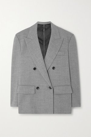 Zip-detailed Double-breasted Woven Blazer - Gray