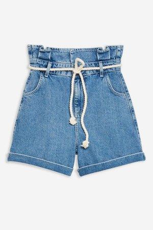 Rope Belt Paper Bag Denim Shorts | Topshop blue