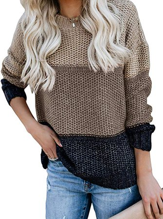 Ybenlow Womens Color Block Oversized Crewneck Sweaters Striped Long Sleeve Loose Chunky Knitted Pullover Jumper Tops at Amazon Women's Clothing store