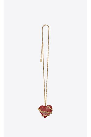 Love Oversized Charm Pendant In Brass And Resin by Saint Laurent...