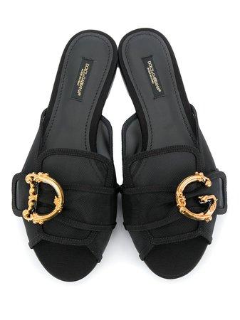 Dolce & Gabbana Bianca Baroque Logo Mules Sandals - Farfetch