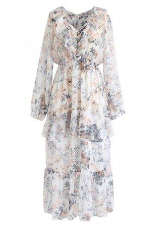 V-Neck Ruffle Floral Midi Dress in White - NEW ARRIVALS - Retro, Indie and Unique Fashion