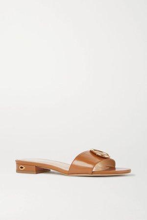 Tan Andrea embellished leather sandals | Jennifer Chamandi | NET-A-PORTER