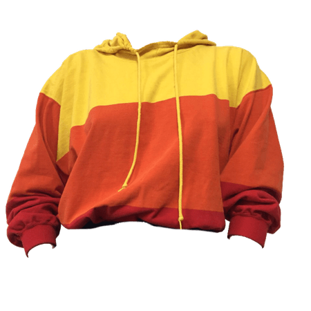 Yellow, Orange, and Red Striped Hoodie