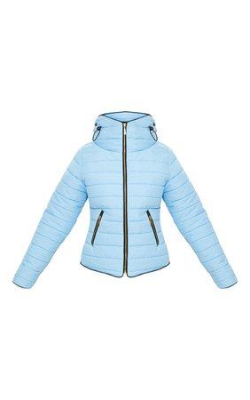 Mara Baby Blue Puffer Jacket | PrettyLittleThing USA