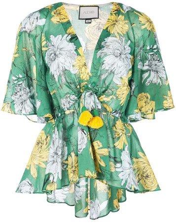 floral drawstring waist blouse