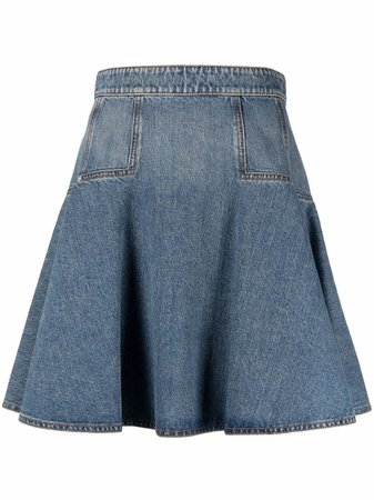 Shop Alexander McQueen flared denim skirt with Express Delivery - FARFETCH