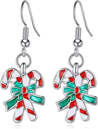 Amazon.com: SAE99 Christmas Collection Dangle Drop Earrings (Candy Cane): Jewelry