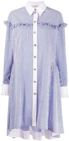 Ruffle-Trimmed Striped Shirt Dress