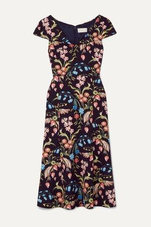 Floral-print Cady Midi Dress - Navy