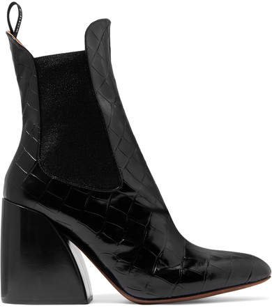 Wave Croc-effect Leather Ankle Boots - Black