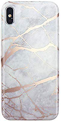 Amazon.com: JIAXIUFEN Compatible with iPhone Xs Max Case Shiny Rose Gold Lines Gray Marble Slim Shockproof Flexible Bumper TPU Soft Case Rubber Silicone Cover Phone Case: Cell Phones & Accessories