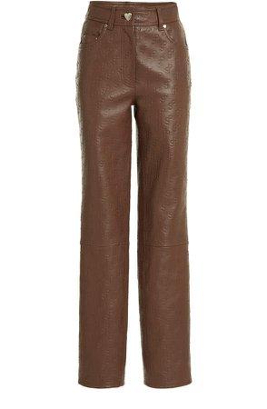 Saks Potts Rosita Straight-Leg Logo-Embossed Leather Pants