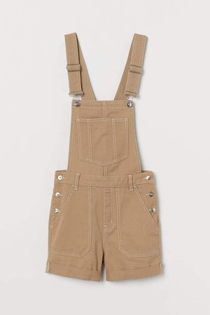 Twill Overall Shorts - Beige