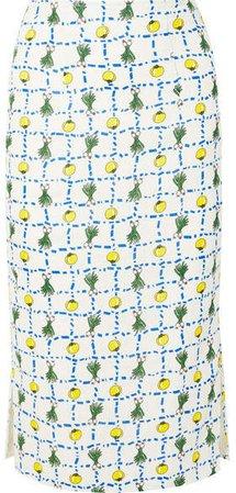 Cabana Printed Linen Skirt - Ecru