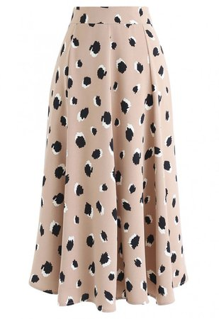 Bicolor Irregular Spots Print Midi Skirt in Tan - NEW ARRIVALS - Retro, Indie and Unique Fashion