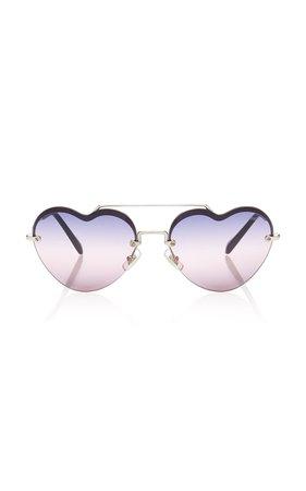 Miu Miu Heart-Frame Metal Sunglasses