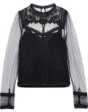 Embroidered Lace-trimmed Point D'esprit Tulle Top