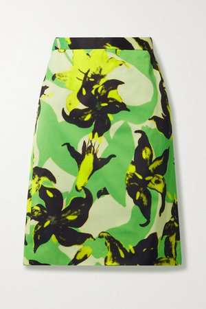 Floral-print Crepe Skirt - Green